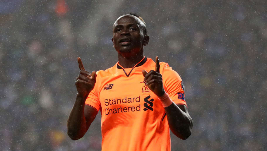 PORTO, PORTUGAL - FEBRUARY 14:  Sadio Mane of Liverpool celebrates scoring the 3rd goal during the UEFA Champions League Round of 16 First Leg match between FC Porto and Liverpool at Estadio do Dragao on February 14, 2018 in Porto, Portugal.  (Photo by Julian Finney/Getty Images)