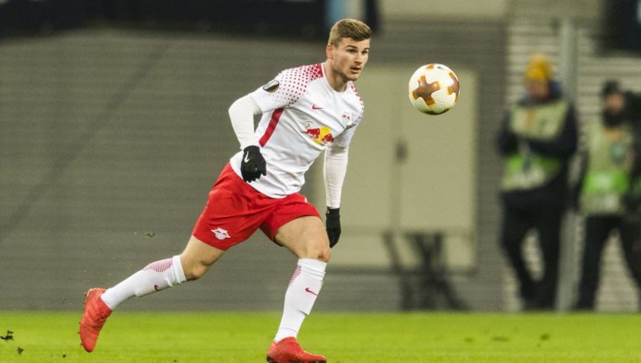 Leipzig's forward Timo Werner plays the ball during the UEFA Europa League football match between SSC Napoli and RB Leipzig, on February 22, 2018 in Leipzig.  / AFP PHOTO / ROBERT MICHAEL        (Photo credit should read ROBERT MICHAEL/AFP/Getty Images)
