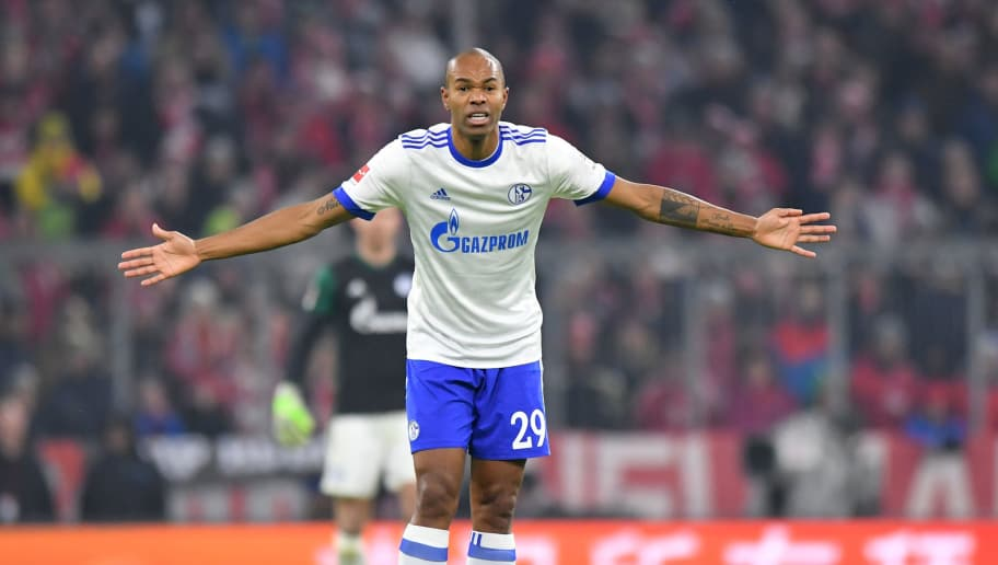 MUNICH, GERMANY - FEBRUARY 10: Naldo of Schalke gestures during the Bundesliga match between FC Bayern Muenchen and FC Schalke 04 at Allianz Arena on February 10, 2018 in Munich, Germany. (Photo by Sebastian Widmann/Bongarts/Getty Images)