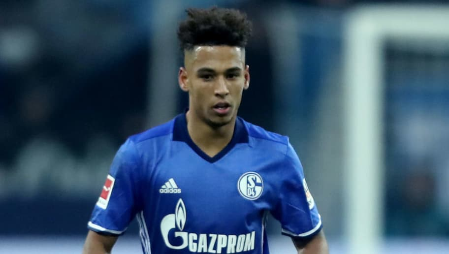GELSENKIRCHEN, GERMANY - FEBRUARY 17: Thilo Kehrer of Schalke runs with the ball during the Bundesliga match between FC Schalke 04 and TSG 1899 Hoffenheim at Veltins-Arena on February 17, 2018 in Gelsenkirchen, Germany. (Photo by Christof Koepsel/Bongarts/Getty Images)