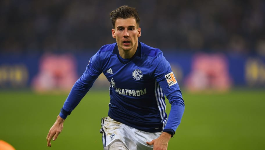 Schalke's German midfielder Leon Goretzka reacts during the German first division Bundesliga football match FC Schalke 04 vs Hoffenheim, in Gelsenkirchen, western Germany, on February 17, 2018. / AFP PHOTO / Patrik STOLLARZ / RESTRICTIONS: DURING MATCH TIME: DFL RULES TO LIMIT THE ONLINE USAGE TO 15 PICTURES PER MATCH AND FORBID IMAGE SEQUENCES TO SIMULATE VIDEO. == RESTRICTED TO EDITORIAL USE == FOR FURTHER QUERIES PLEASE CONTACT DFL DIRECTLY AT + 49 69 650050         (Photo credit should read PATRIK STOLLARZ/AFP/Getty Images)