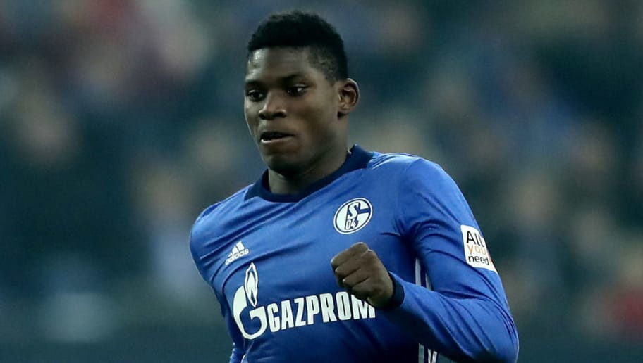 GELSENKIRCHEN, GERMANY - FEBRUARY 17: Breel Embolo of Schalke runs with the ball during the Bundesliga match between FC Schalke 04 and TSG 1899 Hoffenheim at Veltins-Arena on February 17, 2018 in Gelsenkirchen, Germany. (Photo by Christof Koepsel/Bongarts/Getty Images)