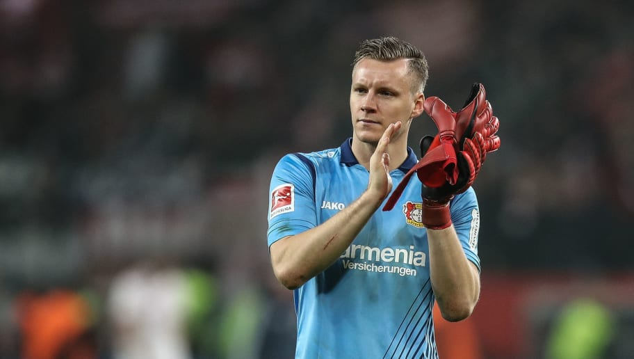 LEVERKUSEN, GERMANY - Bernd Leno #1 of Bayer Leverkusen reacts after the Bundesliga match between Bayer 04 Leverkusen and FC Bayern Muenchen at BayArena on January 12, 2018 in Leverkusen, Germany. (Photo by Maja Hitij/Bongarts/Getty Images)