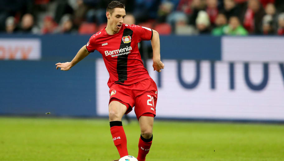 LEVERKUSEN, GERMANY - FEBRUARY 10: Dominik Kohr of Leverkusen runs with the ball during the Bundesliga match between Bayer 04 Leverkusen and Hertha BSC at BayArena on February 10, 2018 in Leverkusen, Germany. The match between Leverkusen and Hertha ended 0-2. (Photo by Christof Koepsel/Bongarts/Getty Images)