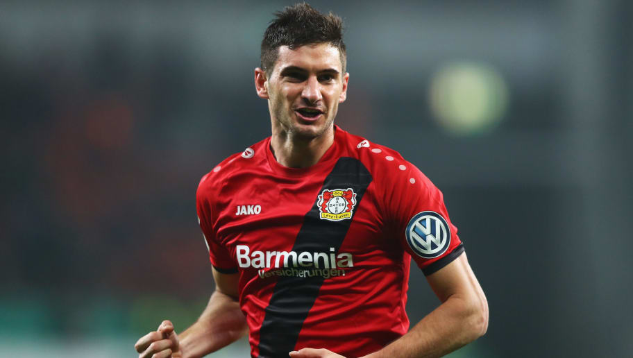 LEVERKUSEN, GERMANY - OCTOBER 24:  Lucas Alario of Bayer 04 Leverkusen celebrates scoring his teams second goal of the game during the DFB Cup match between Bayer Leverkusen and 1. FC Union Berlin at BayArena on October 24, 2017 in Leverkusen, Germany.  (Photo by Dean Mouhtaropoulos/Bongarts/Getty Images)