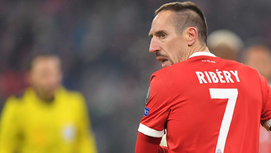 MUNICH, GERMANY - FEBRUARY 20: Franck Ribery of Bayern Muenchen looks over his shoulder during the UEFA Champions League Round of 16 First Leg match between Bayern Muenchen and Besiktas at Allianz Arena on February 20, 2018 in Munich, Germany. (Photo by Sebastian Widmann/Bongarts/Getty Images)