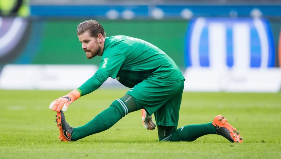 FRANKFURT AM MAIN, GERMANY - FEBRUARY 10: Timo Horn of Koeln warms up during the Bundesliga match between Eintracht Frankfurt and 1. FC Koeln at Commerzbank-Arena on February 10, 2018 in Frankfurt am Main, Germany. (Photo by Simon Hofmann/Bongarts/Getty Images)