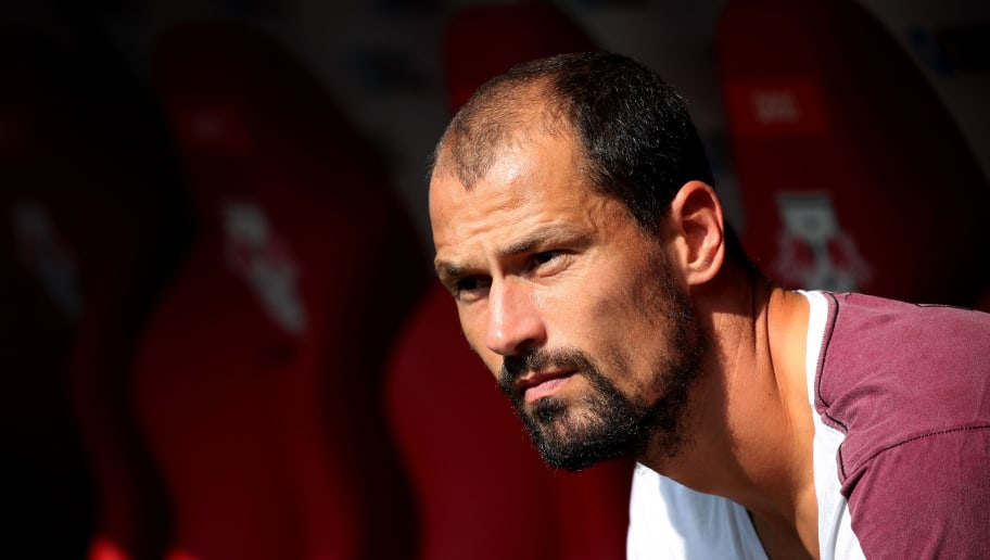 LEIPZIG, GERMANY - AUGUST 27: Goalkeeper Fabio Coltorti of Leipzig looks on prior to the Bundesliga match between RB Leipzig and Sport-Club Freiburg at Red Bull Arena on August 27, 2017 in Leipzig, Germany. (Photo by Ronny Hartmann/Bongarts/Getty Images)