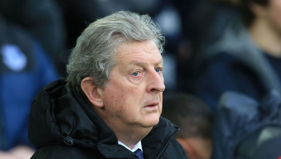 Crystal Palace's English manager Roy Hodgson looks on during the English Premier League football match between Everton and Crystal Palace at Goodison Park in Liverpool, north west England on February 10, 2018. / AFP PHOTO / Lindsey PARNABY / RESTRICTED TO EDITORIAL USE. No use with unauthorized audio, video, data, fixture lists, club/league logos or 'live' services. Online in-match use limited to 75 images, no video emulation. No use in betting, games or single club/league/player publications.  /         (Photo credit should read LINDSEY PARNABY/AFP/Getty Images)