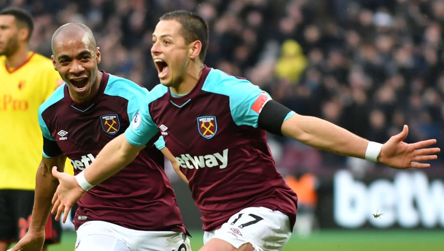West Ham United's Mexican striker Javier Hernandez celebrates after scoring the opening goal of the English Premier League football match between West Ham United and Watford at The London Stadium, in east London on February 10, 2018. / AFP PHOTO / OLLY GREENWOOD / RESTRICTED TO EDITORIAL USE. No use with unauthorized audio, video, data, fixture lists, club/league logos or 'live' services. Online in-match use limited to 75 images, no video emulation. No use in betting, games or single club/league/player publications.  /         (Photo credit should read OLLY GREENWOOD/AFP/Getty Images)