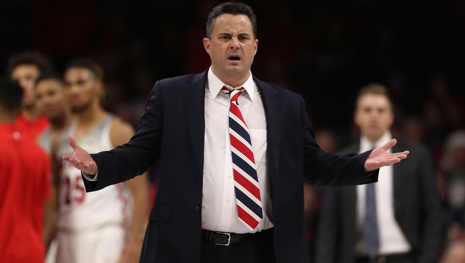 TUCSON, AZ - DECEMBER 21:  Head coach Sean Miller of the Arizona Wildcats reacts to a foul call during the first half of the college basketball game against the Connecticut Huskies at McKale Center on December 21, 2017 in Tucson, Arizona.  (Photo by Christian Petersen/Getty Images)