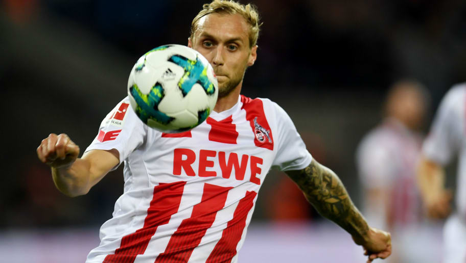 Cologne's midfielder Marcel Risse plays the ball during the German First division Bundesliga football match 1 FC Cologne vs Eintracht Frankfurt in Cologne, western Germany, on September 20, 2017. / AFP PHOTO / PATRIK STOLLARZ        (Photo credit should read PATRIK STOLLARZ/AFP/Getty Images)