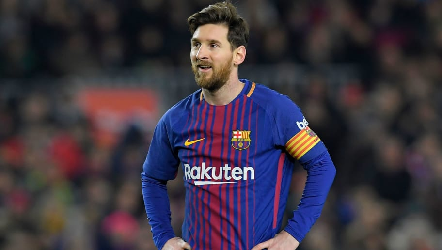 Barcelona's Argentinian forward Lionel Messi looks on during the Spanish league football match between FC Barcelona and Girona FC at the Camp Nou stadium in Barcelona on February 24, 2018. / AFP PHOTO / LLUIS GENE        (Photo credit should read LLUIS GENE/AFP/Getty Images)