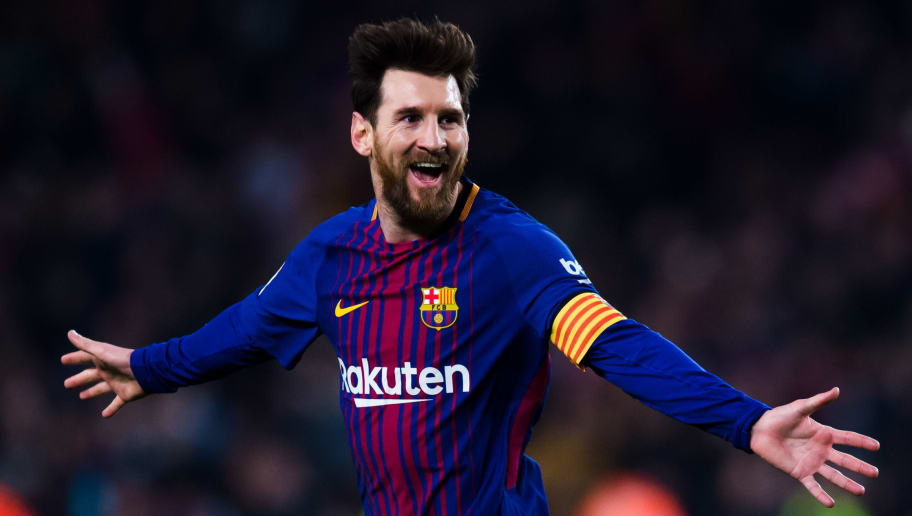 BARCELONA, SPAIN - FEBRUARY 24:  Lionel Messi of FC Barcelona celebrates after scoring his team's third goal during the La Liga match between Barcelona and Girona at Camp Nou on February 24, 2018 in Barcelona, Spain.  (Photo by Alex Caparros/Getty Images)