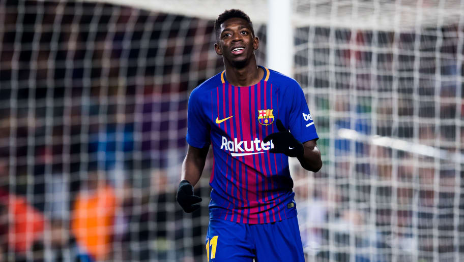 BARCELONA, SPAIN - FEBRUARY 24: Ousmane Dembele of FC Barcelona reacts during the La Liga match between Barcelona and Girona at Camp Nou on February 24, 2018 in Barcelona, Spain. (Photo by Alex Caparros/Getty Images)