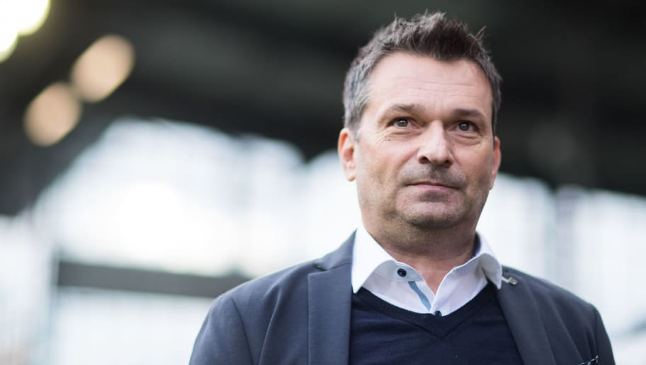 FREIBURG IM BREISGAU, GERMANY - NOVEMBER 04: Manager Christian Heidel of Schalke looks on during the Bundesliga match between Sport-Club Freiburg and FC Schalke 04 at Schwarzwald-Stadion on November 4, 2017 in Freiburg im Breisgau, Germany. (Photo by Simon Hofmann/Bongarts/Getty Images)