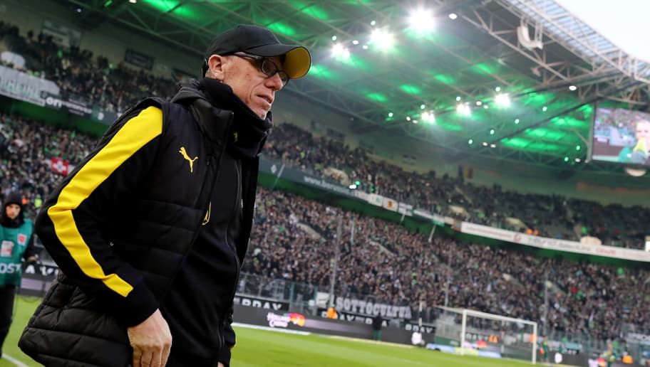 MOENCHENGLADBACH, GERMANY - FEBRUARY 18: Head coach Peter Stoeger of Dortmund  looks on prior to the Bundesliga match between Borussia Moenchengladbach and Borussia Dortmund at Borussia-Park on February 18, 2018 in Moenchengladbach, Germany. (Photo by Christof Koepsel/Bongarts/Getty Images)