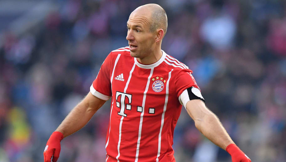 MUNICH, GERMANY - FEBRUARY 24: Arjen Robben of Bayern Muenchen gestures during the Bundesliga match between FC Bayern Muenchen and Hertha BSC at Allianz Arena on February 24, 2018 in Munich, Germany. (Photo by Sebastian Widmann/Bongarts/Getty Images)