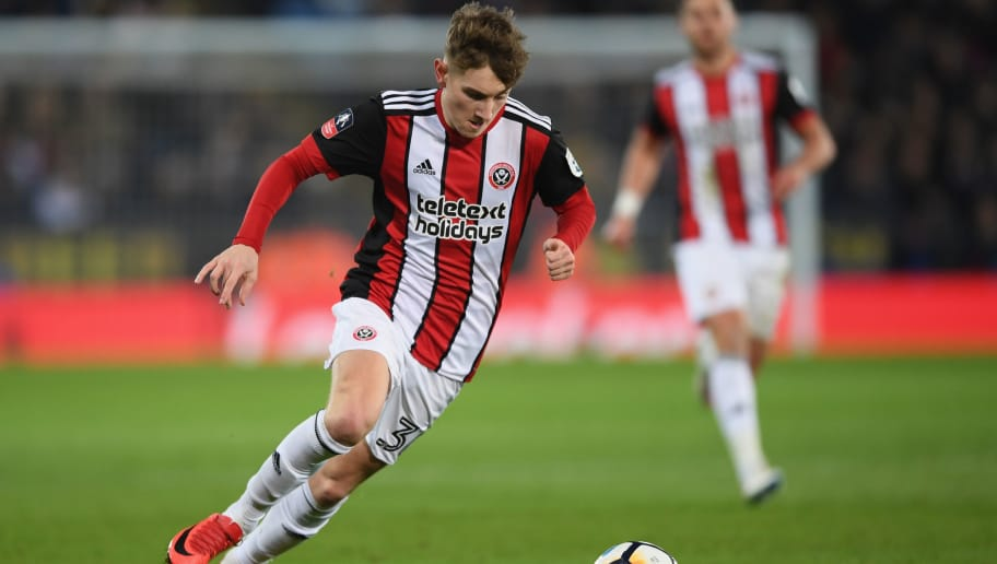 LEICESTER, ENGLAND - FEBRUARY 16:  David Brooks of Sheffield United runs with the ball during the The Emirates FA Cup Fifth Round between Leicester City and Sheffield United at The King Power Stadium on February 16, 2018 in Leicester, England.  (Photo by Shaun Botterill/Getty Images)