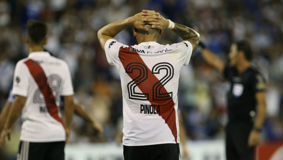 BUENOS AIRES, ARGENTINA - FEBRUARY 24: Javier Pinola of River Plate reacts during a match between Velez Sarsfield and River Plate as part of the Superliga 2017/18 at Jose Amalfitani Stadium on February 24, 2018 in Buenos Aires, Argentina.  (Photo by Daniel Jayo/Getty Images)