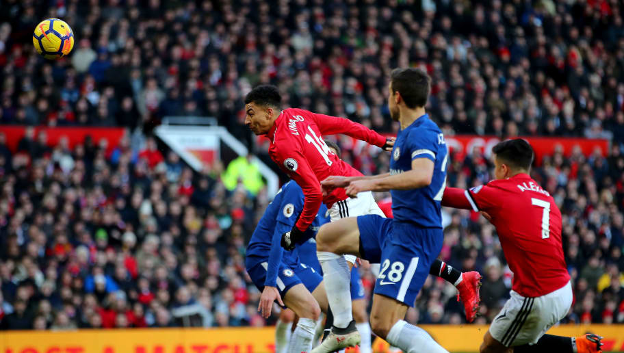 MANCHESTER, ENGLAND - FEBRUARY 25:  Jesse Lingard of Manchester United scores his sides second goal during the Premier League match between Manchester United and Chelsea at Old Trafford on February 25, 2018 in Manchester, England.  (Photo by Clive Brunskill/Getty Images)
