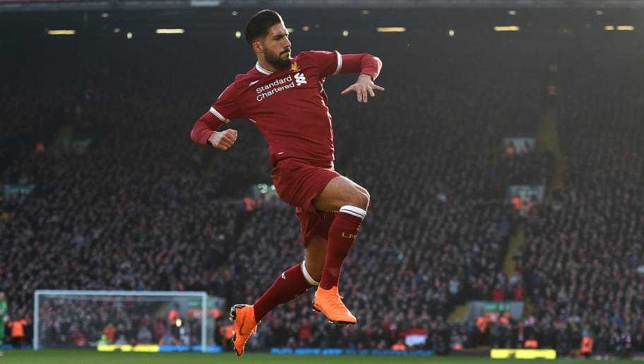 Liverpool's German midfielder Emre Can celebrates scoring the team's first goal during the English Premier League football match between Liverpool and West Ham United at Anfield in Liverpool, north west England on February 24, 2018. / AFP PHOTO / Oli SCARFF / RESTRICTED TO EDITORIAL USE. No use with unauthorized audio, video, data, fixture lists, club/league logos or 'live' services. Online in-match use limited to 75 images, no video emulation. No use in betting, games or single club/league/player publications.  /         (Photo credit should read OLI SCARFF/AFP/Getty Images)
