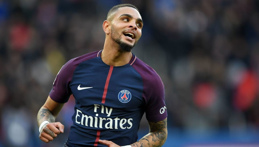 Paris Saint-Germain's French defender Layvin Kurzawa reacts during the French Ligue 1 football match between Paris Saint-Germain (PSG) and Strasbourg at The Parc des Princes in Paris on February 17, 2018.  / AFP PHOTO / CHRISTOPHE ARCHAMBAULT        (Photo credit should read CHRISTOPHE ARCHAMBAULT/AFP/Getty Images)