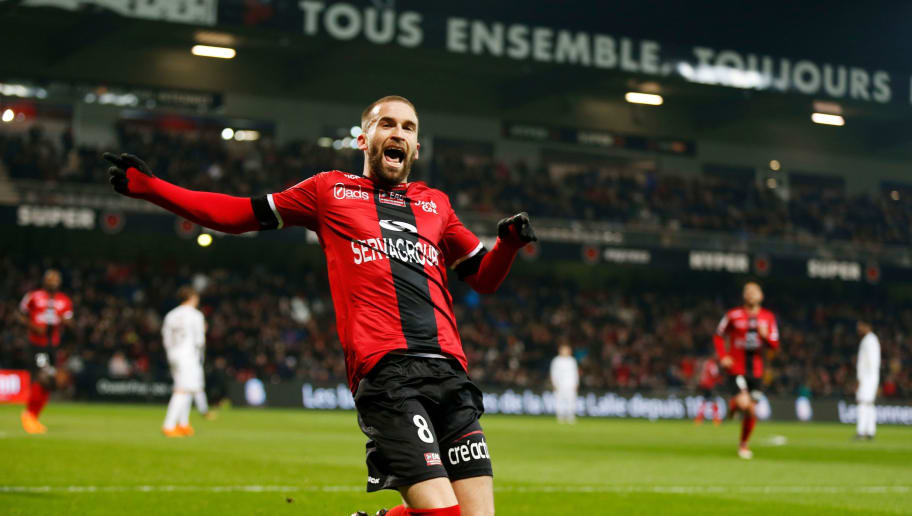 Guincamp's French midfielder Lucas Deaux reacts after scoring a goal during the French L1 football match between Guingamp (EAG) and Metz (FCM) on February 124, 2018, at the Roudourou stadium in Guingamp, northwestern France. / AFP PHOTO / CHARLY TRIBALLEAU        (Photo credit should read CHARLY TRIBALLEAU/AFP/Getty Images)