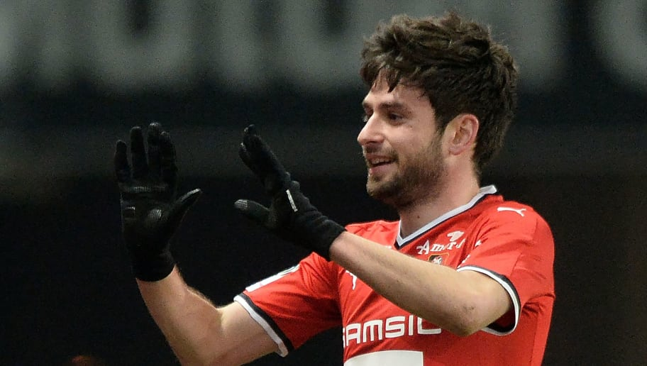Rennes' French midfielder Sanjin Prcic reacts after scoring a goal during the French L1 football match between Rennes (SRFC) and Troyes (ESTAC), on February 24, 2018, at the Roazhon Park in Rennes, northwestern France. / AFP PHOTO / JEAN-FRANCOIS MONIER        (Photo credit should read JEAN-FRANCOIS MONIER/AFP/Getty Images)