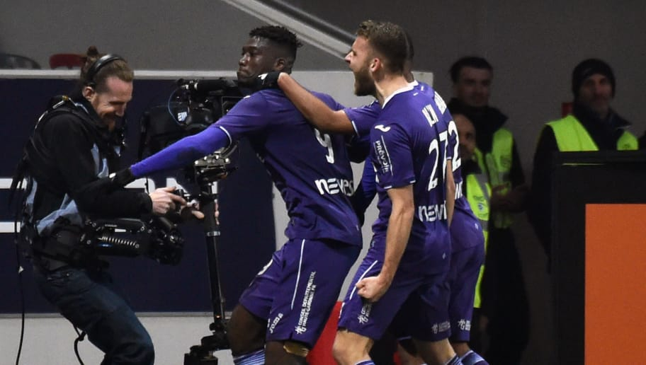 Toulouse's French forward Yaya Sanogo (L) celebrates after scoring a goal during the French L1 football match between Toulouse (TFC) and Monaco (ASM) on February 24, 2018, at the Municipal Stadium in Toulouse, southern France.  / AFP PHOTO / PASCAL PAVANI        (Photo credit should read PASCAL PAVANI/AFP/Getty Images)
