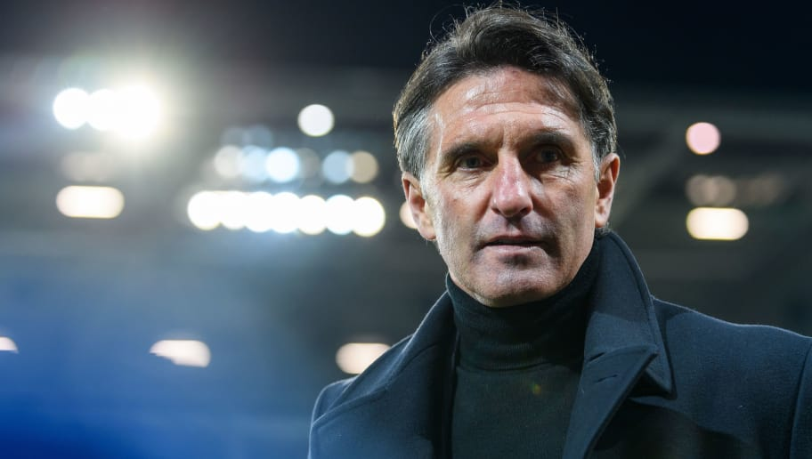 MAINZ, GERMANY - FEBRUARY 23: Head coach Bruno Labbadia of Wolfsburg is seen during the Bundesliga match between 1. FSV Mainz 05 and VfL Wolfsburg at Opel Arena on February 23, 2018 in Mainz, Germany. (Photo by Alexander Scheuber/Bongarts/Getty Images)