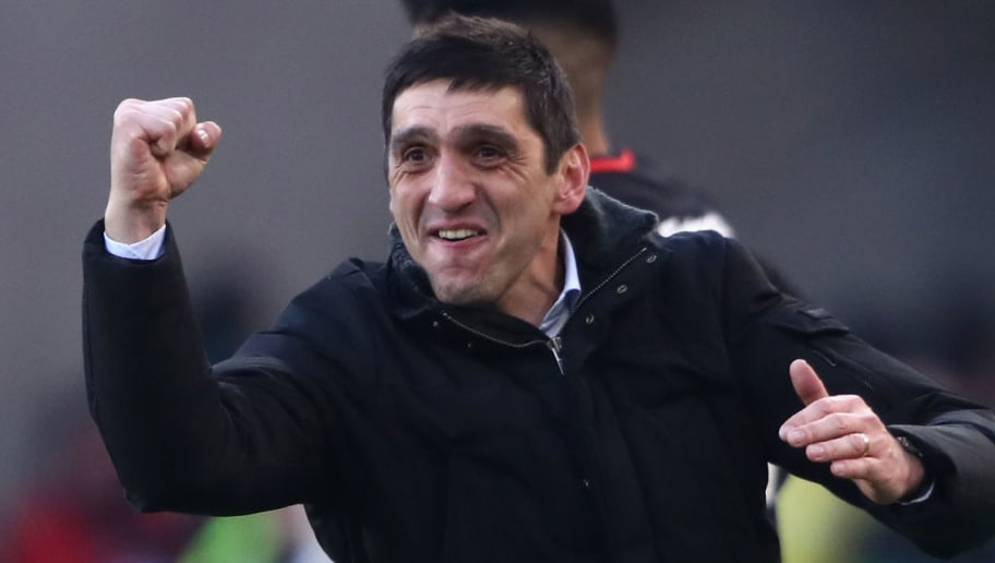 STUTTGART, GERMANY - FEBRUARY 24: Head coach Tayfun Korkut of Stuttgart celebrates after the Bundesliga match between VfB Stuttgart and Eintracht Frankfurt at Mercedes-Benz Arena on February 24, 2018 in Stuttgart, Germany. (Photo by Alex Grimm/Bongarts/Getty Images)