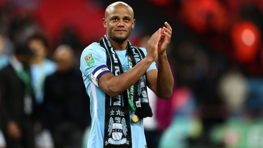 LONDON, ENGLAND - FEBRUARY 25: Vincent Kompany  of Manchester City during the Carabao Cup Final between Arsenal and Manchester City at Wembley Stadium on February 25, 2018 in London, England. (Photo by Catherine Ivill/Getty Images)