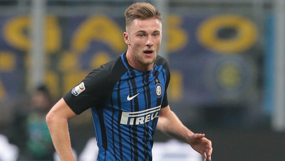 MILAN, ITALY - FEBRUARY 24:  Milan Skriniar of FC Internazionale Milano in action during the serie A match between FC Internazionale and Benevento Calcio at Stadio Giuseppe Meazza on February 24, 2018 in Milan, Italy.  (Photo by Emilio Andreoli/Getty Images )