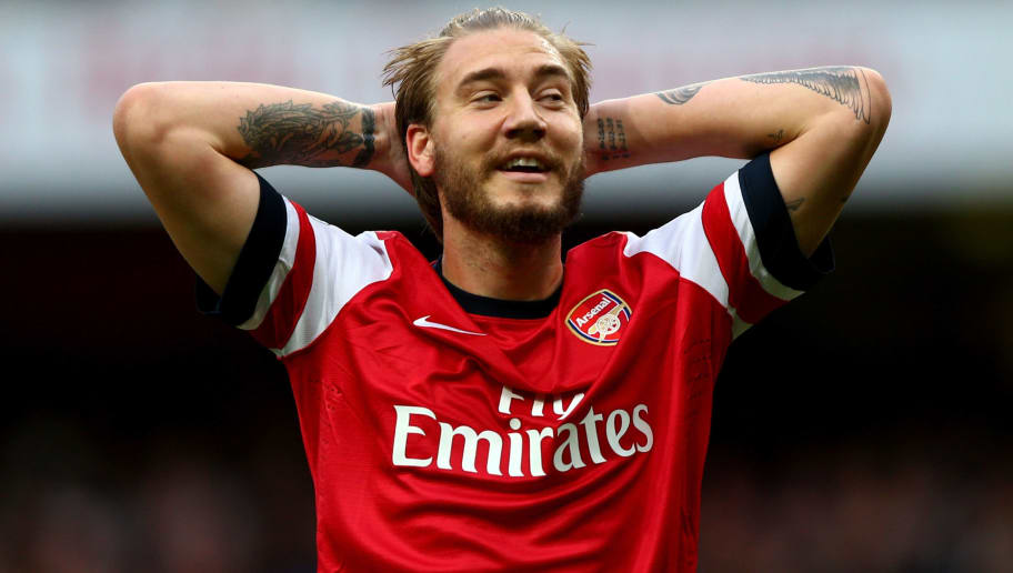 LONDON, ENGLAND - OCTOBER 19:  Nicklas Bendtner of Arsenal reacts during the Barclays Premier League match between Arsenal and Norwich City at Emirates Stadium on October 19, 2013 in London, England.  (Photo by Paul Gilham/Getty Images)