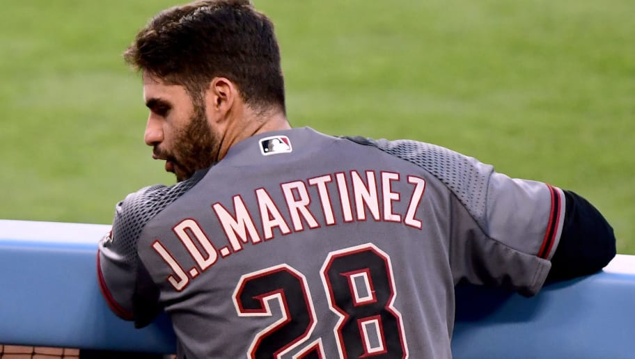 LOS ANGELES, CA - SEPTEMBER 04:  J.D. Martinez #28 of the Arizona Diamondbacks in the dugout after his second homerun of the game during the seventh inning against the Los Angeles Dodgers at Dodger Stadium on September 4, 2017 in Los Angeles, California.  (Photo by Harry How/Getty Images)
