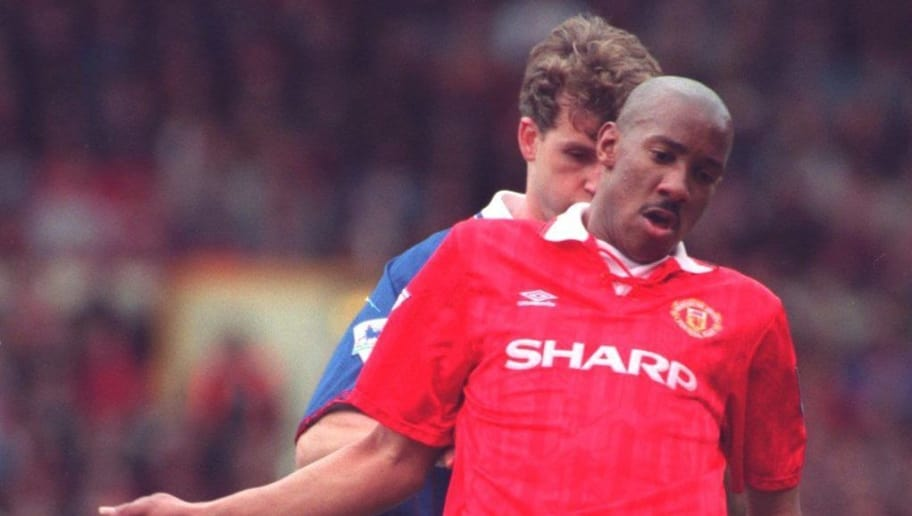 10 APR 1994:  DION DUBLIN OF MANCHESTER UNITED SOCCER CLUB IN ACTION AGAINST OLDHAM IN THE FA CUP SEMI-FINAL MATCH PLAYED AT MAINE ROAD. Mandatory Credit: Mike Cooper/ALLSPORT