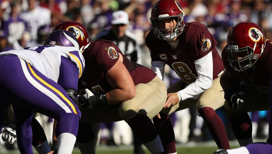 LANDOVER, MD - NOVEMBER 13: Quarterback Kirk Cousins #8 of the Washington Redskins looks on from the line of scrimmage against the Minnesota Vikings in the first quarter at FedExField on November 13, 2016 in Landover, Maryland. (Photo by Patrick Smith/Getty Images)