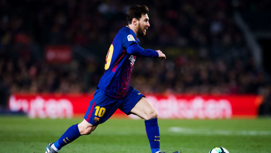 BARCELONA, SPAIN - FEBRUARY 24: Lionel Messi of FC Barcelona runs with the ball during the La Liga match between Barcelona and Girona at Camp Nou on February 24, 2018 in Barcelona, Spain. (Photo by Alex Caparros/Getty Images)