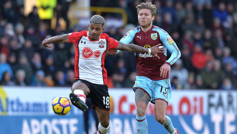 BURNLEY, ENGLAND - FEBRUARY 24: Mario Lemina of Southampton is challenged by Jeff Hendrick of Burnley during the Premier League match between Burnley and Southampton at Turf Moor on February 24, 2018 in Burnley, England. (Photo by Mark Runnacles/Getty Images)