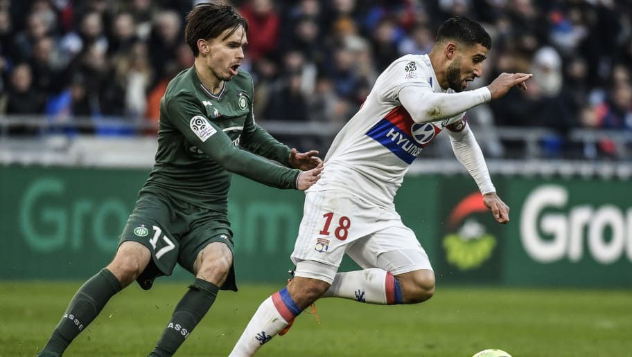 Lyon's French midfielder Nabil Fekir (R) vies with Saint-Etienne's Norwegian midfielder Ole Selnaes during the French L1 football match Olympique Lyonnais (OL) versus AS Saint-Etienne (ASSE) on February 25, 2018 at the Groupama Stadium in Decines-Charpieu, near Lyon, central-eastern France. / AFP PHOTO / JEFF PACHOUD        (Photo credit should read JEFF PACHOUD/AFP/Getty Images)