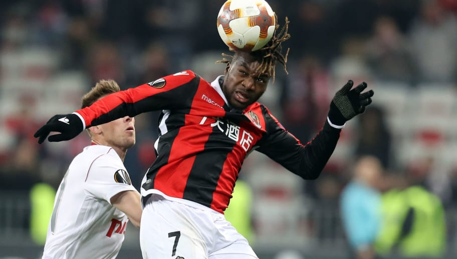 Nice's French midfielder Allan Saint-Maximin heads the ball during the UEFA Europa League football match between Nice and Lokomotiv Moscow on February 15, 2018, at the Allianz Riviera stadium in Nice, southeastern France. / AFP PHOTO / VALERY HACHE        (Photo credit should read VALERY HACHE/AFP/Getty Images)