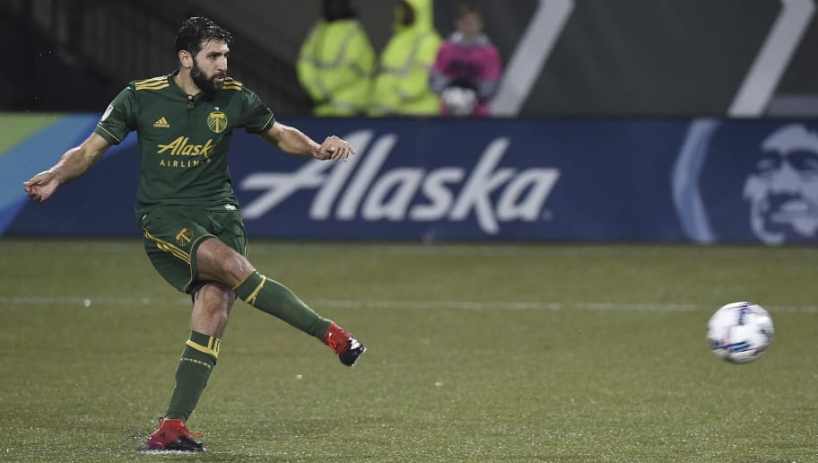 PORTLAND, OR - MARCH 03: Diego Valeri #8 of the Portland Timbers scores on a penalty kick during the second half of the match against the Minnesota United at Providence Park on March 3, 2017 in Portland, Oregon. The Timbers won 5-1. (Photo by Steve Dykes/Getty Images)