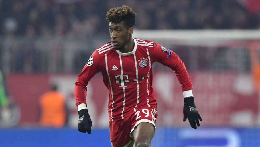 Bayern Munich's French forward Kingsley Coman runs with the ball during the UEFA Champions League round of sixteen first leg football match Bayern Munich vs Besiktas Istanbul on February 20, 2018 in Munich, southern Germany. Bayern Munich won 5-0.  / AFP PHOTO / John MACDOUGALL        (Photo credit should read JOHN MACDOUGALL/AFP/Getty Images)