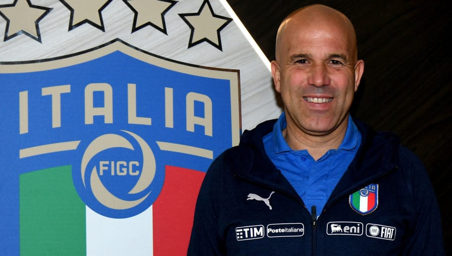 FLORENCE, ITALY - FEBRUARY 26:  Head coach Italy Luigi Di Biagio poses for a photo during a press conference at Italy club's training ground at Coverciano  at Coverciano on February 26, 2018 in Florence, Italy.  (Photo by Claudio Villa/Getty Images)