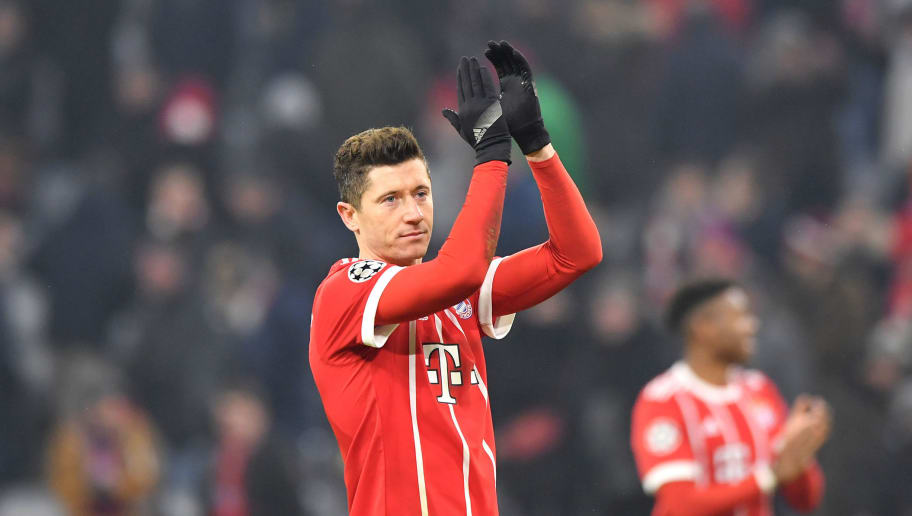 MUNICH, GERMANY - FEBRUARY 20:  Robert Lewandowski of Bayern Muenchen applauds fans after the UEFA Champions League Round of 16 First Leg  match between Bayern Muenchen and Besiktas at Allianz Arena on February 20, 2018 in Munich, Germany.  (Photo by Sebastian Widmann/Bongarts/Getty Images)