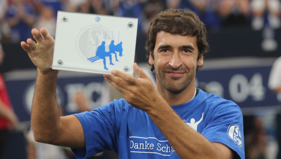 GELSENKIRCHEN, GERMANY - JULY 27:  Raul poses prior to his farewell match between Schalke 04 and Al-Sadd Sports Club Katar at Veltins Arena on July 27, 2013 in Gelsenkirchen, Germany. (Photo by Juergen Schwarz/Bongarts/Getty Images)
