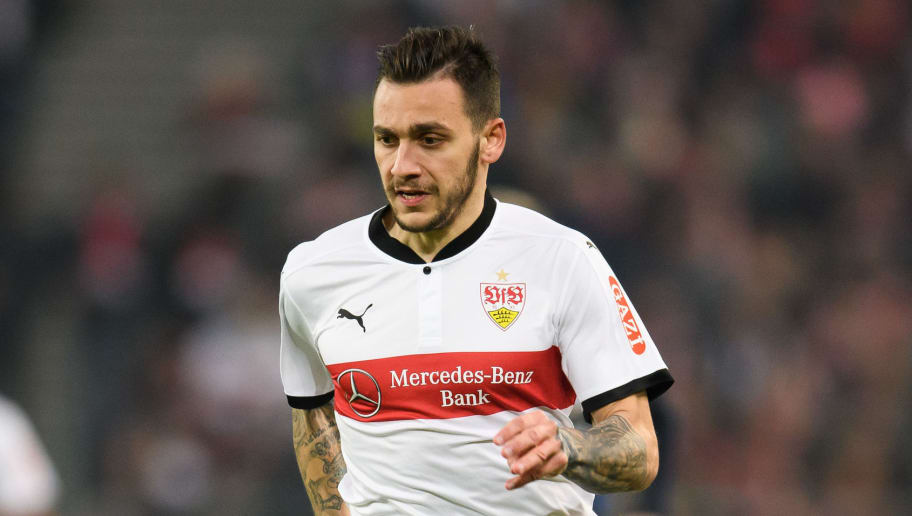 STUTTGART, GERMANY - JANUARY 13: Anastasios Donis of Stuttgart controls the ball during the Bundesliga match between VfB Stuttgart and Hertha BSC at Mercedes-Benz Arena on January 13, 2018 in Stuttgart, Germany. (Photo by Matthias Hangst/Bongarts/Getty Images)
