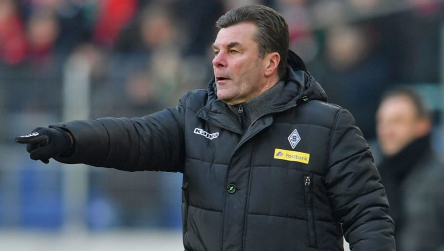 HANOVER, GERMANY - FEBRUARY 24: Head coach Dieter Hecking reacts during the Bundesliga match between Hannover 96 and Borussia Moenchengladbach at HDI-Arena on February 24, 2018 in Hanover, Germany. (Photo by Thomas Starke/Bongarts/Getty Images)