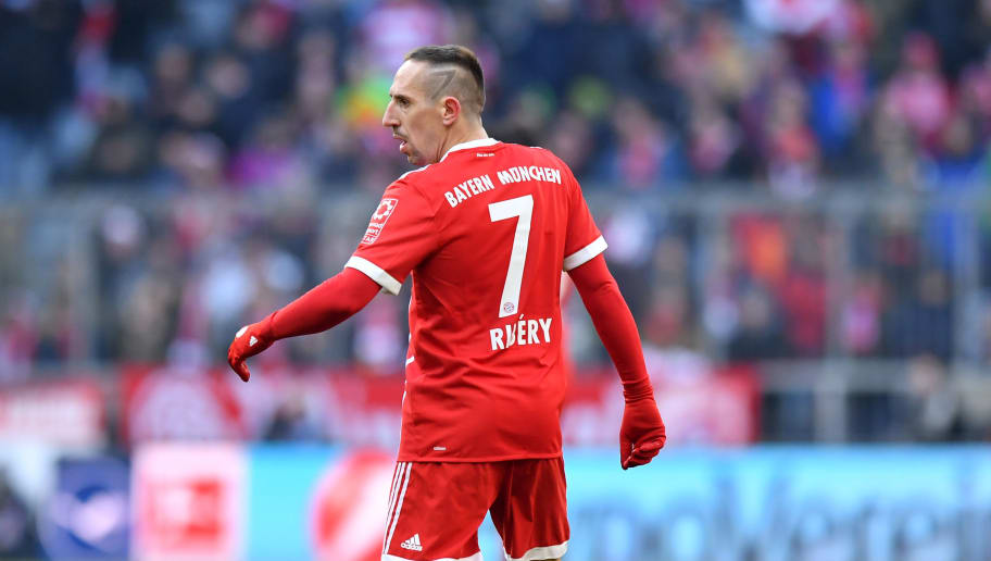 MUNICH, GERMANY - FEBRUARY 24: Franck Ribery of Bayern Muenchen looks on during the Bundesliga match between FC Bayern Muenchen and Hertha BSC at Allianz Arena on February 24, 2018 in Munich, Germany. (Photo by Sebastian Widmann/Bongarts/Getty Images)